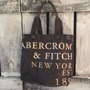 Abercrombie & Fitch Brown Canvas Tote 15x17x5-1/2